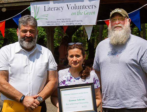 LVG Student and new US Citizen, Carmen Salazar, celebrating with New Milford Mayor Pete Bass and State Representive Bill Buckbee (R-67)